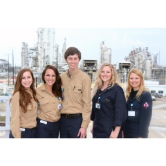 Five Lamar University students gained on-job-experience through a summer internship at BASF TOTAL Petrochemicals. They are (from left) Taylor Stephens, Kelci Crawford, Michael Hollier, Stephanie Coolidge and Katie Bond.