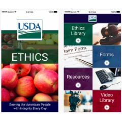 Screenshots of new USDA Ethics App, as unveiled by Agriculture Secretary Sonny Perdue.