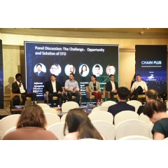 """The Challenge, Opportunity and Solution of STO"" panel discussion at the ""Chain Plus: Asia-Pacific Blockchain New Finance Summit"" at Mandarin Oriental Singapore"